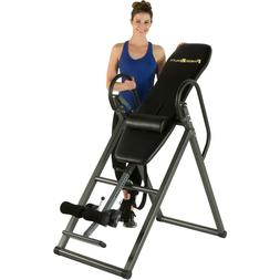 Black Inversion Table with Lumbar Pillow Home Workout Fitnes