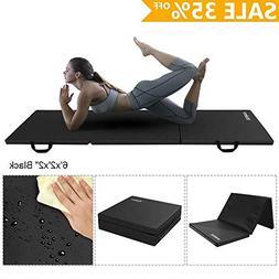 YOLEO Gymnastics Gym Exercise Mat, Tumbling Foam Folding Flo