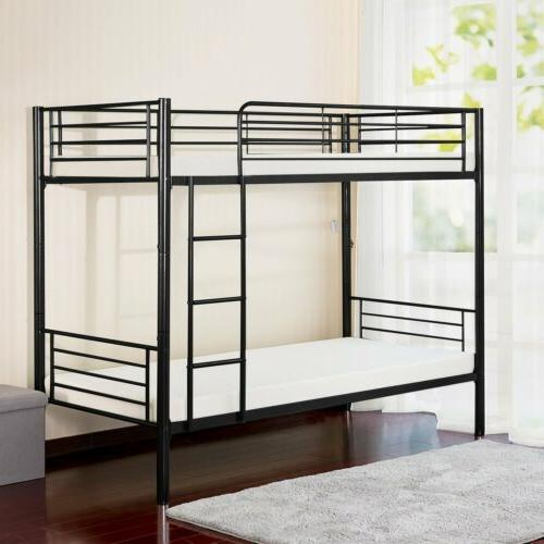 Merax Twin-Over-Twin Metal Bunk Bed in Ladder Kids
